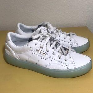 Adidas Sleek White Leather Sneakers